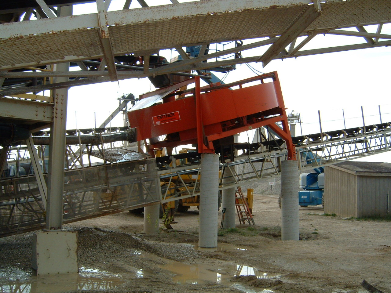 A side view of an Ortner sand classifier in use at a manufactured sand plant.