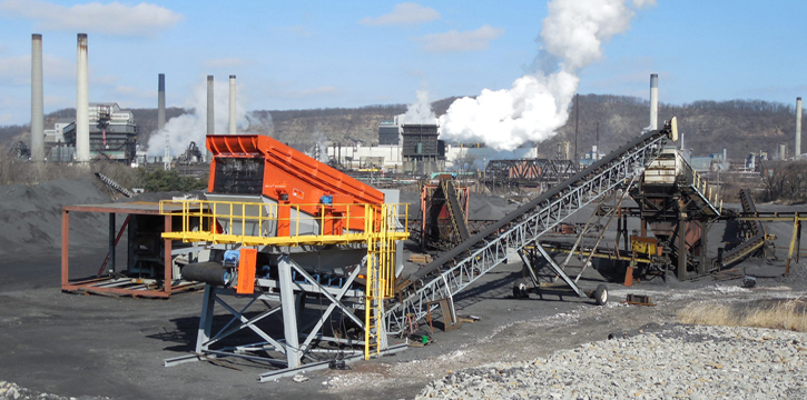 Screening equipment in a coal manufacturing operation.