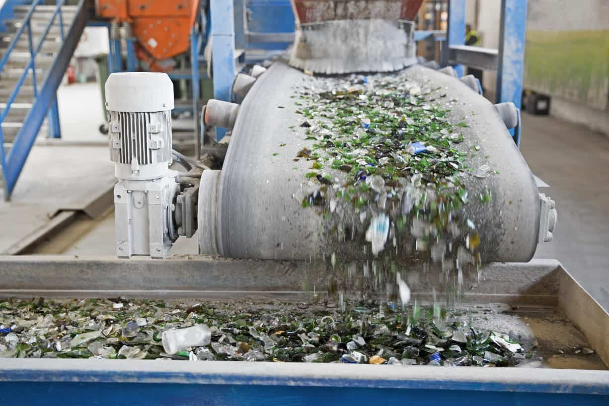 An MRF sorts and processes recycled glass.